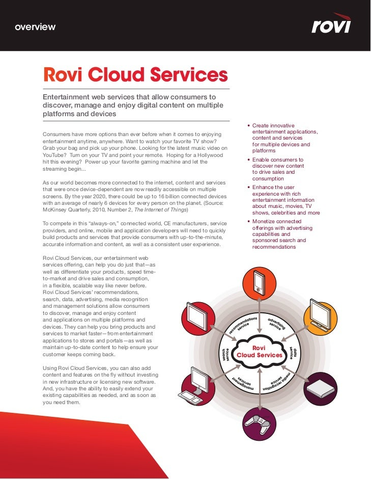 overview     Rovi Cloud Services     Entertainment web services that allow consumers to     discover, manage and enjoy dig...