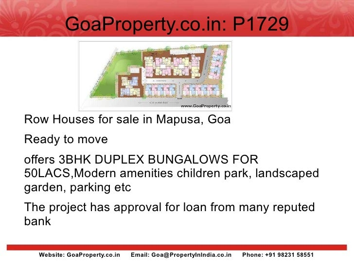 GoaProperty.co.in: P1729    Row Houses for sale in Mapusa, Goa Ready to move offers 3BHK DUPLEX BUNGALOWS FOR 50LACS,Moder...