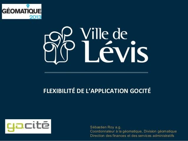 FLEXIBILITÉ  DE  L'APPLICATION  GOCITÉ  Sébastien Roy a.g. Coordonnateur à la géomatique, Division géomatique Direct...