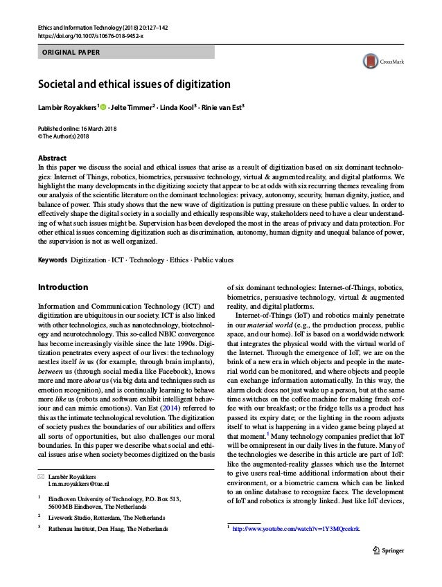 Societal and ethical issues of digitization