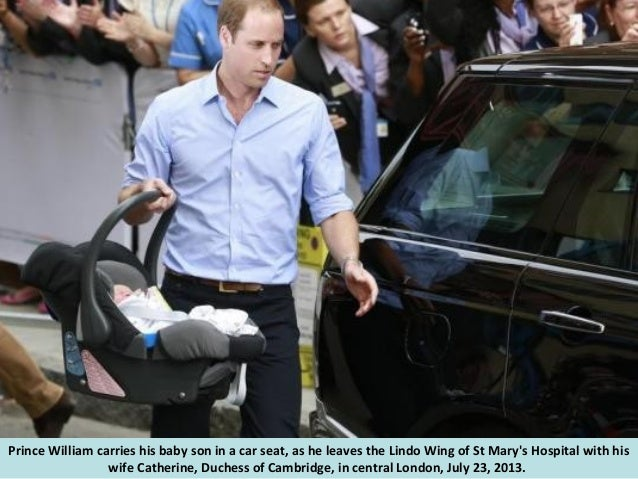 A carries a teddy bear gift to the Lindo Wing of St Mary's Hospital, the morning after Catherine, Duchess of Cambridge gav...