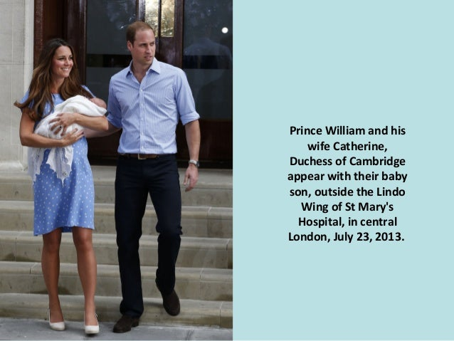 Prince William and his wife Catherine, Duchess of Cambridge appear with their baby son, outside the Lindo Wing of St Mary'...