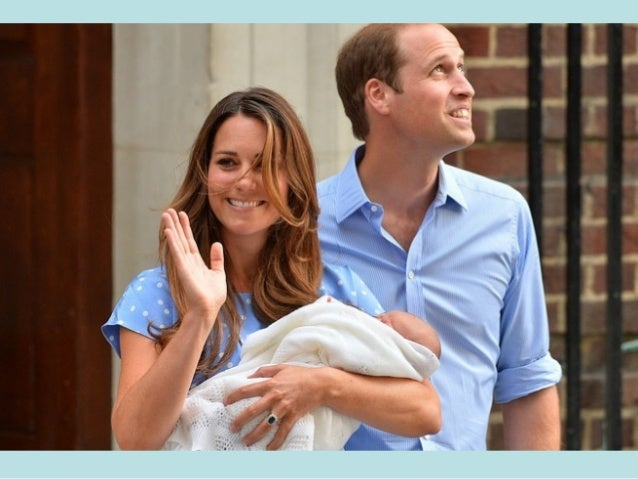 Prince William and his wife Catherine, Duchess of Cambridge appear with their baby son, as they stand outside the Lindo Wi...