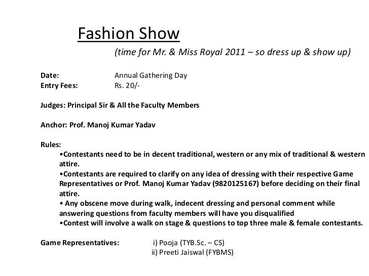 fashion show introduction speech