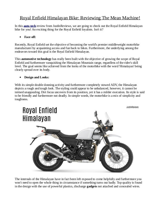 Royal Enfield Himalayan Bike Reviewing The Mean Machine