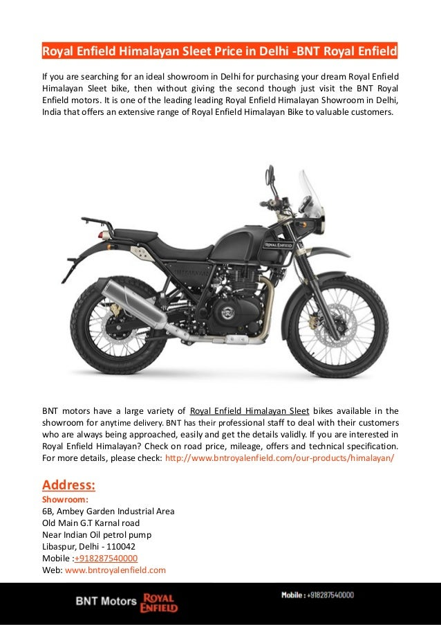 Royal Enfield Himalayan Sleet Price In Delhi Bnt Royal Enfield
