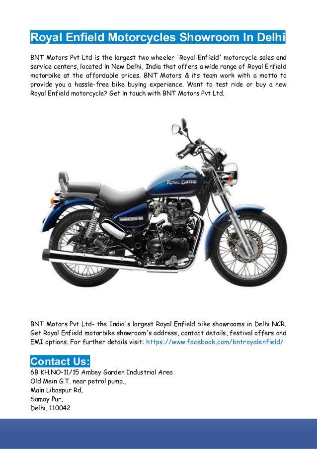 Royal Enfield Motorcycles Showroom In Delhi Ncr Bnt Motors Pvt Ltd