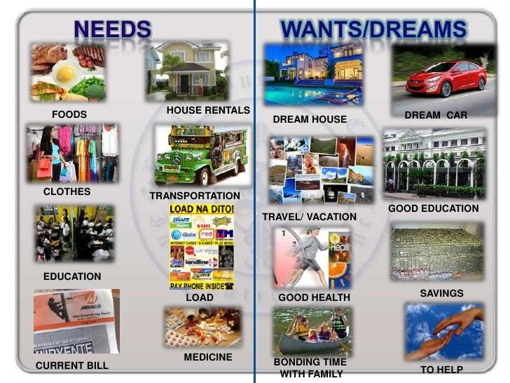 NEEDS  FOODS          HOUSE RENTALS                        DREAM CAR                                  DREAM HOUSE CLOTHES ...