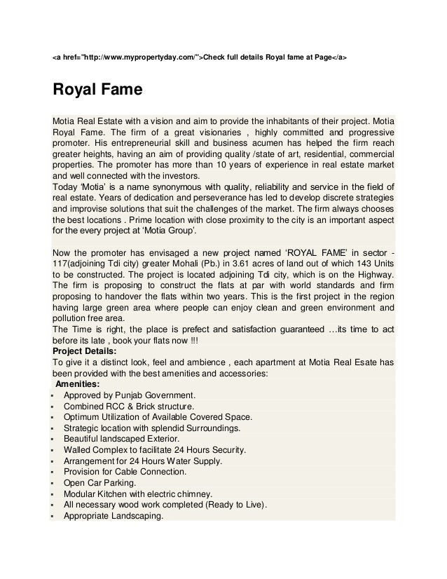 "<a href=""http://www.mypropertyday.com/"">Check full details Royal fame at Page</a>Royal FameMotia Real Estate with a vision..."