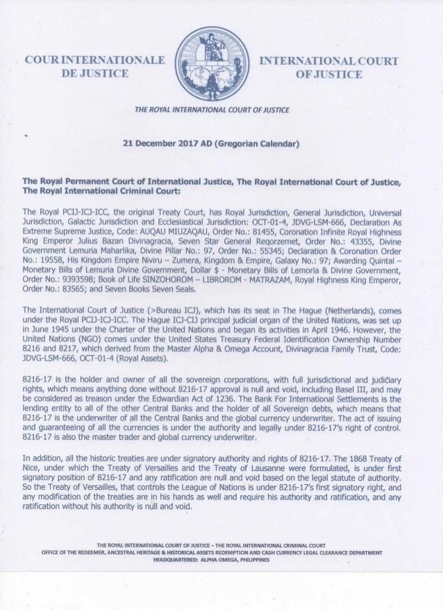 ROYAL PCIJ-ICJ-ICC NOTICE