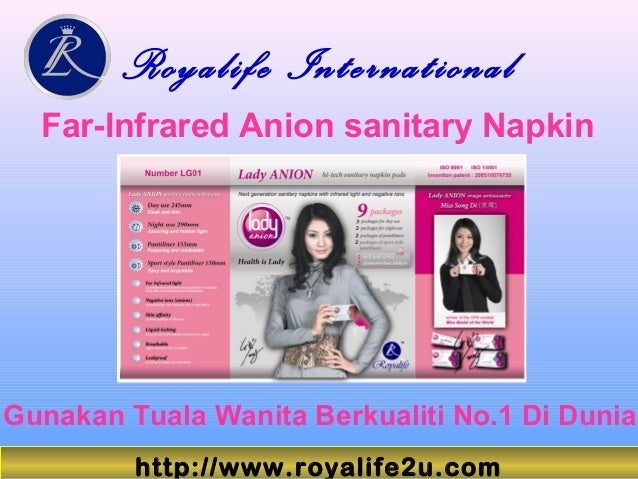 Royalife International Far-Infrared Anion sanitary Napkin Gunakan Tuala Wanita Berkualiti No.1 Di Dunia http://www.royalif...