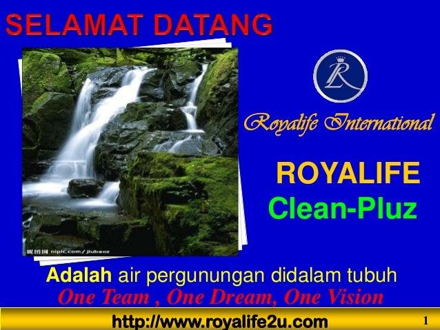 http://www.royalife2u.com 1 One Team , One Dream, One Vision ROYALIFE Clean-Pluz Royalife International Adalah air pergunu...