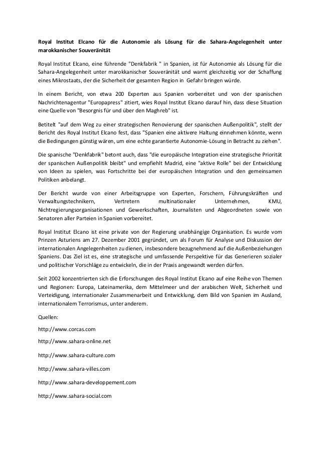 Royal Institut Elcano für die Autonomie als Lösung für die Sahara-Angelegenheit unter marokkanischer Souveränität Royal In...