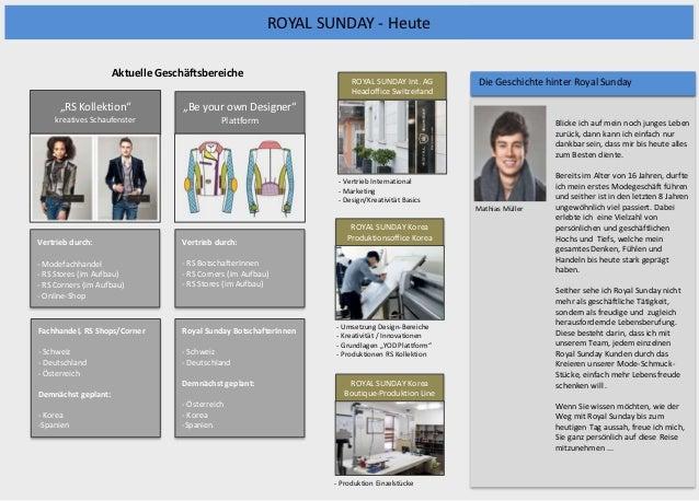 ROYAL SUNDAY - Heute                     Aktuelle Geschäftsbereiche                                                       ...