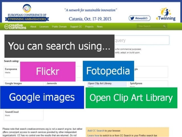 To try the CC-Search page  4. Searching free stock images sites