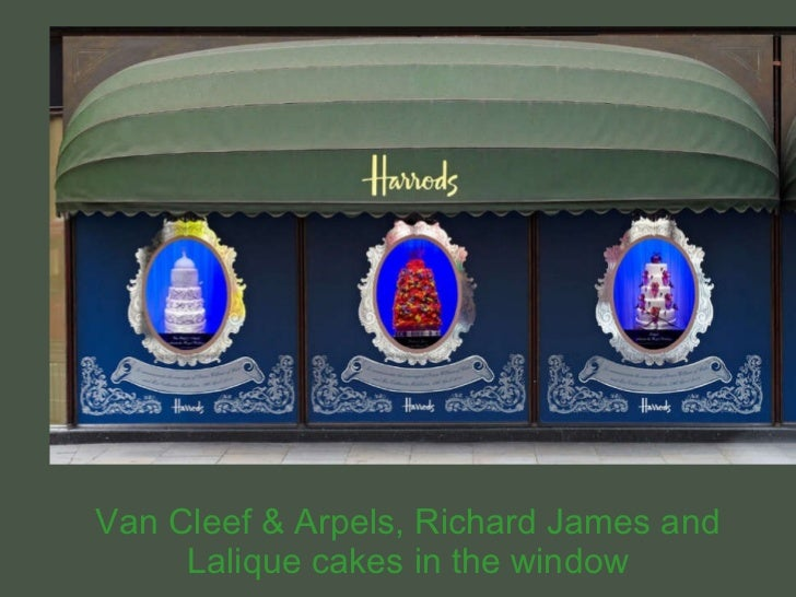 Van Cleef & Arpels, Richard James and Lalique cakes in the window