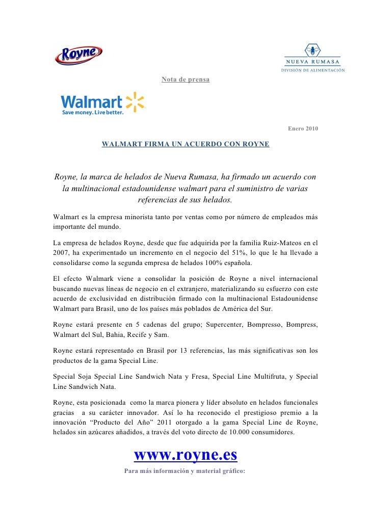 Nota de prensa                                                                             Enero 2010               WALMAR...