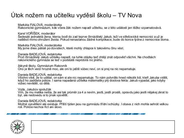 Útok nožem na učitelku vyděsil školu – TV Nova Markéta FIALOVÁ, moderátorka Rakovnické gymnázium, kde včera žák nožem napa...