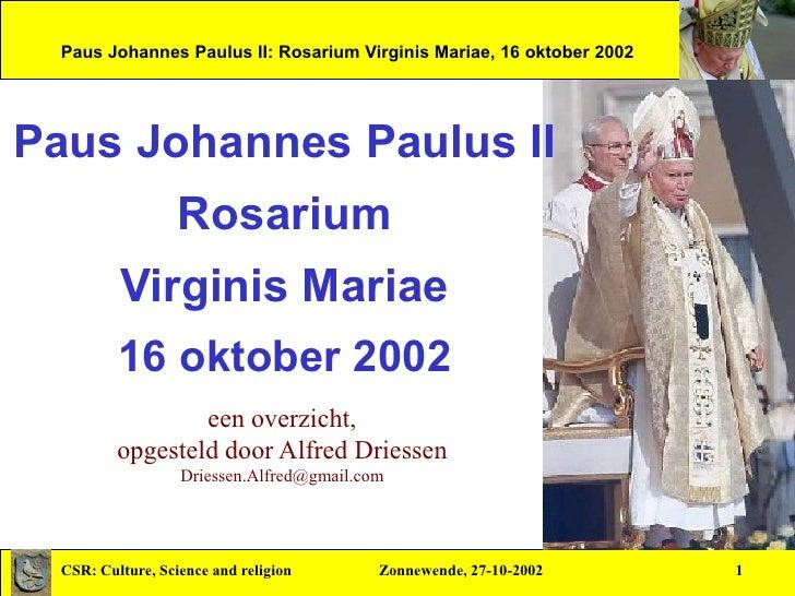 Johannes Paulus II: de Rozenkrans