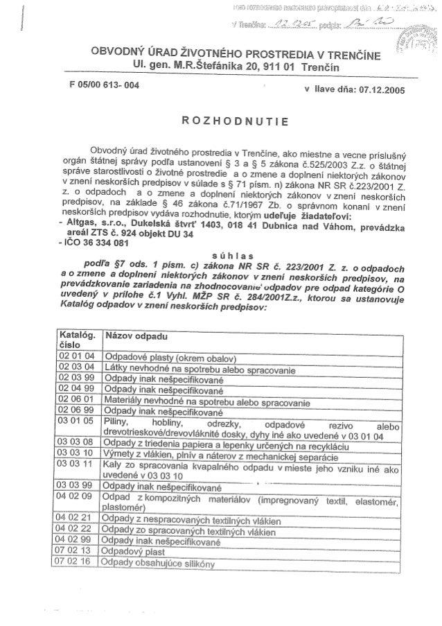 Rozhodnutie TAP F0500613004 z 20050712 Brantner Altgas s.r.o.