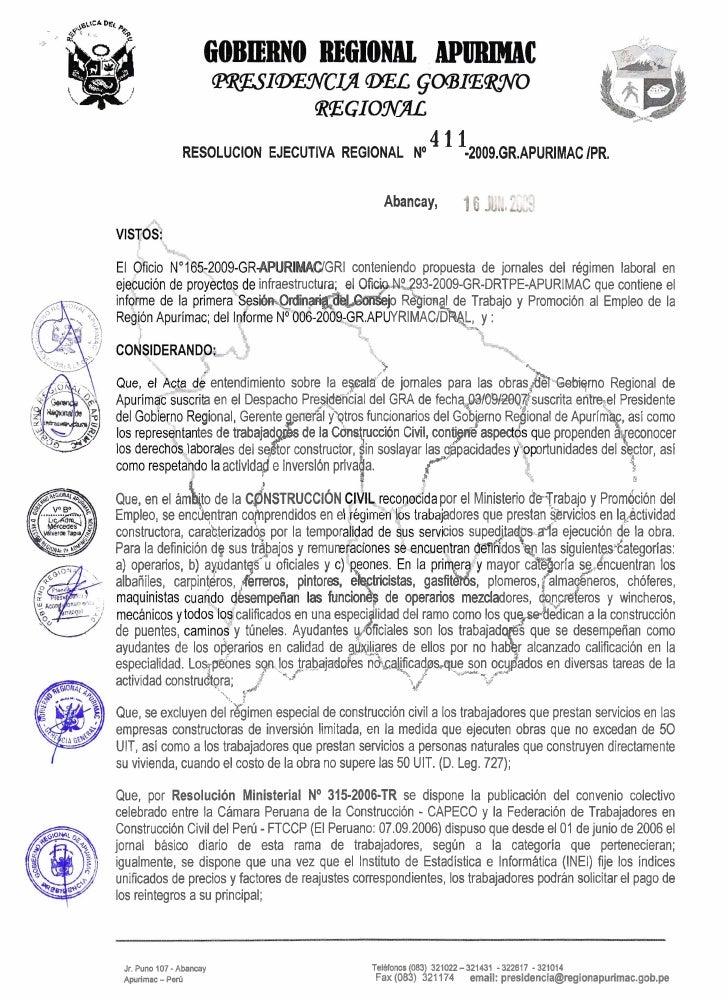 RESOLUCION EJECUTIVA REGIONAL No                                                                         4 1 1-2009.GR.APU...