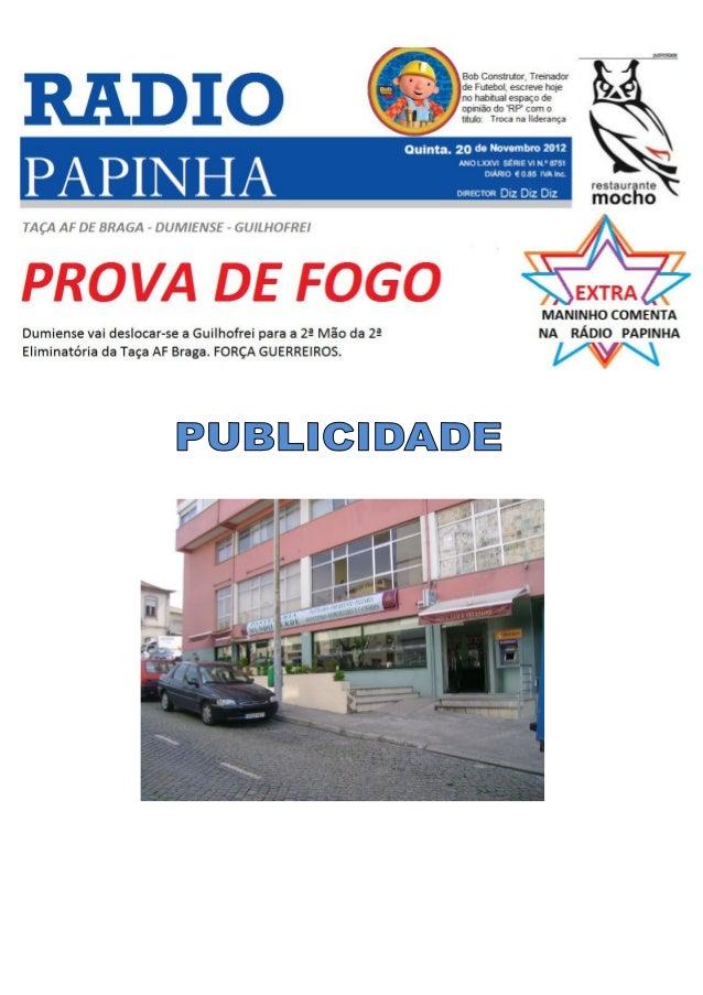 Domingo 16/12/2012 pelas 15h, Estádio Celestino Lobo, emDume.DUMIENSE F.C. 2 - 0 CabreirosA opinião do Mister Paulo Pires,...
