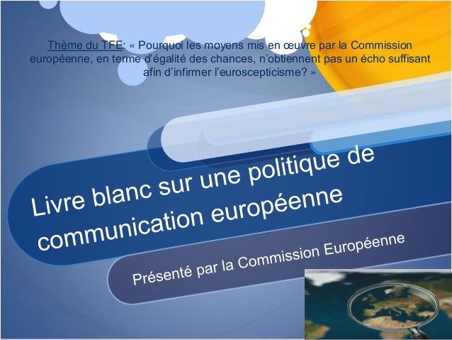 Thème du TFE: « Pourquoi les moyens mis en œuvre par la Commission européenne, en terme d'égalité des chances, n'obtiennen...