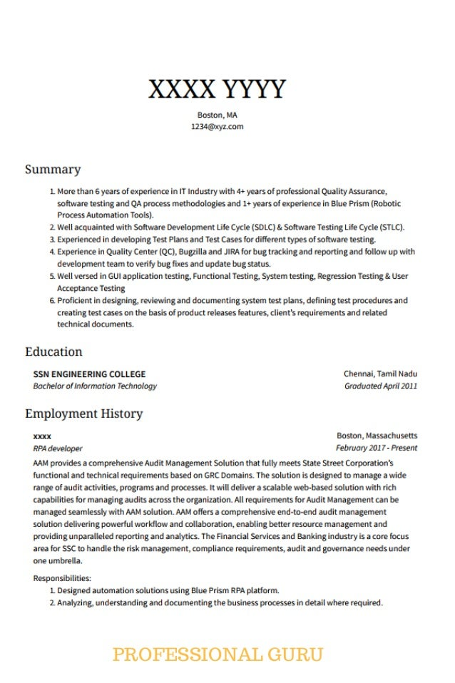 rpa developer sample resume