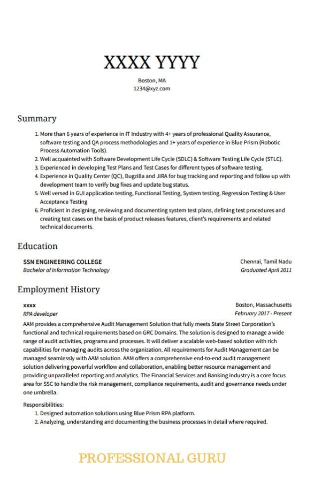rpa developer resume