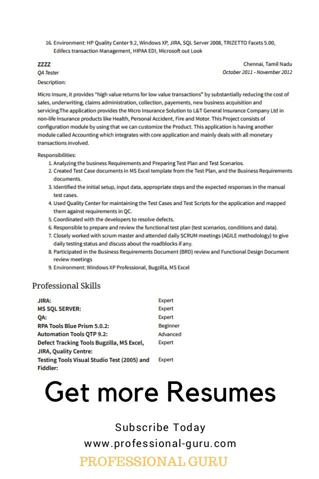 rpa developer resume