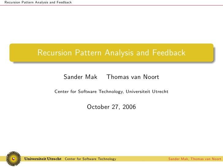 Recursion Pattern Analysis and Feedback                        Recursion Pattern Analysis and Feedback                    ...