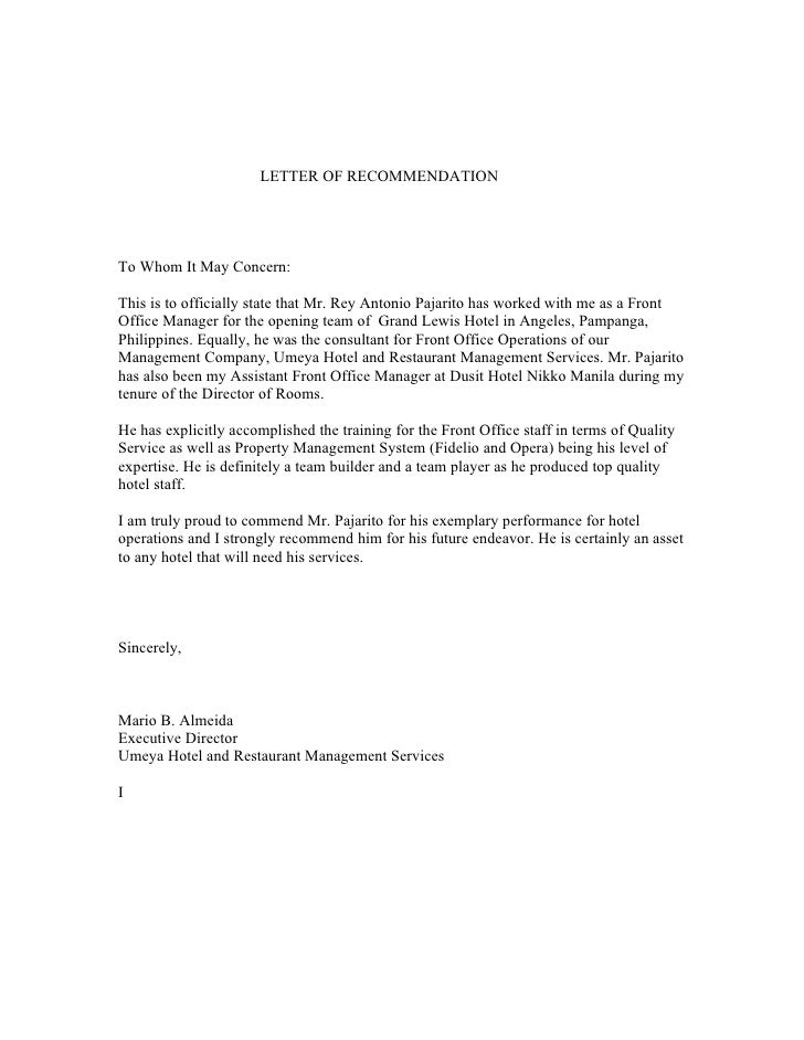 Letter Of Recommendation From Mr. Mario Almeida, Executive Director, …