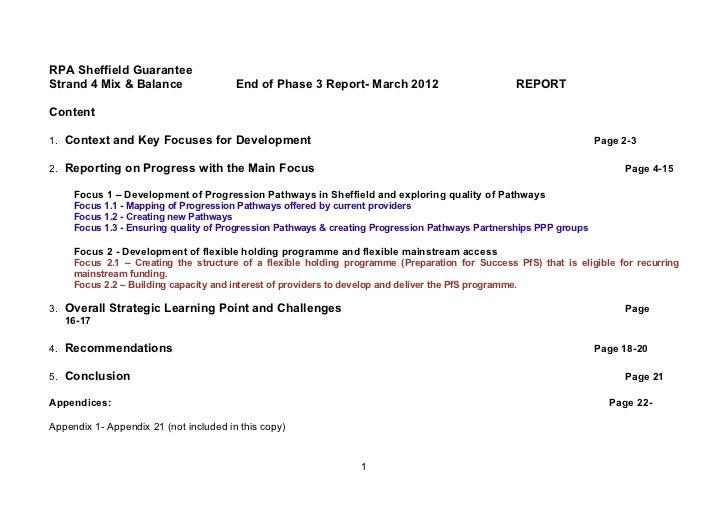 RPA Sheffield GuaranteeStrand 4 Mix & Balance                  End of Phase 3 Report- March 2012                        RE...