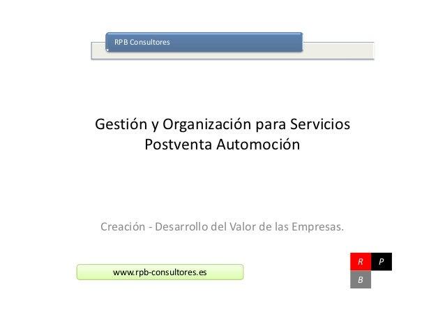 RPB ConsultoresGestión y Organización para Servicios       Postventa AutomociónCreación - Desarrollo del Valor de las Empr...