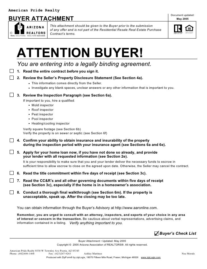 American Pride Realty .  Blank Purchase Contract