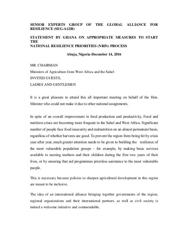SENIOR EXPERTS GROUP OF THE GLOBAL ALLIANCE FOR RESILIENCE (SEG-AGIR) STATEMENT BY GHANA ON APPROPRIATE MEASURES TO START ...