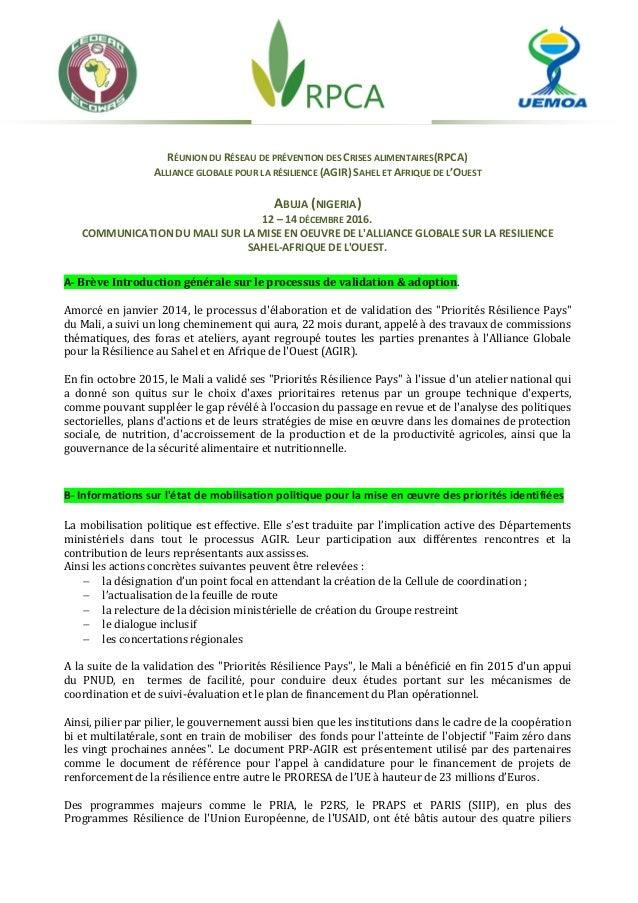 RÉUNION DU RÉSEAU DE PRÉVENTION DES CRISES ALIMENTAIRES(RPCA) ALLIANCE GLOBALE POUR LA RÉSILIENCE (AGIR) SAHEL ET AFRIQUE ...