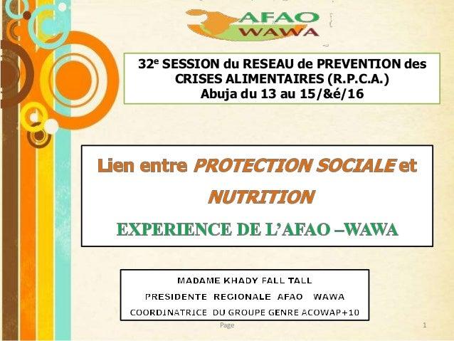 Free Powerpoint Templates 32e SESSION du RESEAU de PREVENTION des CRISES ALIMENTAIRES (R.P.C.A.) Abuja du 13 au 15/&é/16 1...