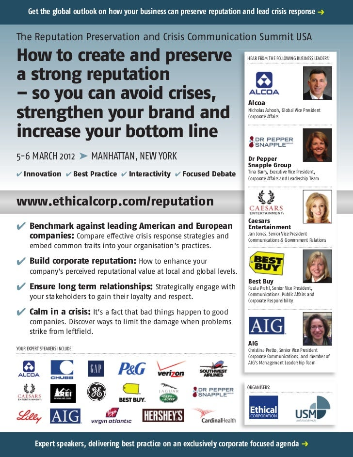 Get the global outlook on how your business can preserve reputation and lead crisis response pThe Reputation Preservation ...