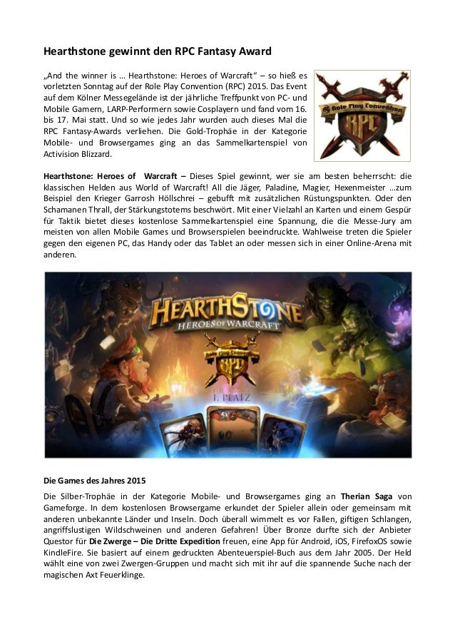 "Hearthstone gewinnt den RPC Fantasy Award ""And the winner is … Hearthstone: Heroes of Warcraft"" – so hieß es vorletzten So..."