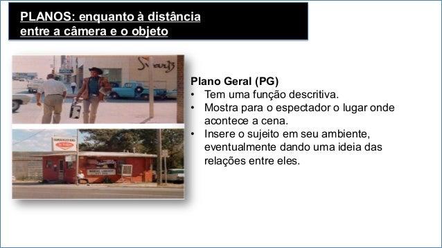 PLANOS: enquanto à distância entre a câmera e o objeto • Plano Aberto (PA ) O personagem é enquadrado da cabeça aos pés, ...