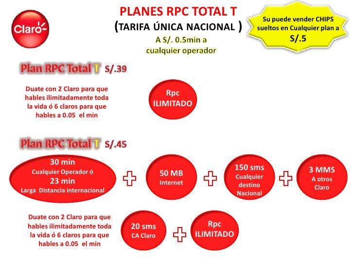 PLANES RPC TOTAL T                            Su puede vender CHIPS                                 (TARIFA ÚNICA NACIONAL...