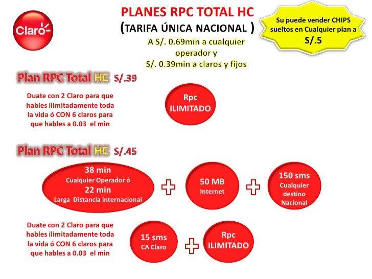 PLANES RPC TOTAL HC                    Su puede vender CHIPS                              (TARIFA ÚNICA NACIONAL )        ...