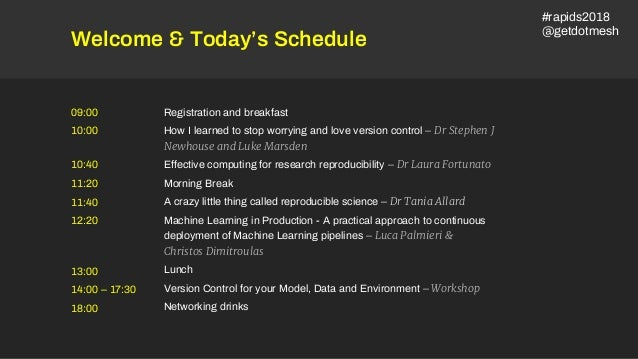 Welcome & Today's Schedule Registration and breakfast How I learned to stop worrying and love version control – Dr Stephen...