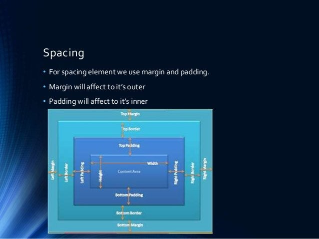 Spacing • For spacing element we use margin and padding. • Margin will affect to it's outer • Padding will affect to it's ...