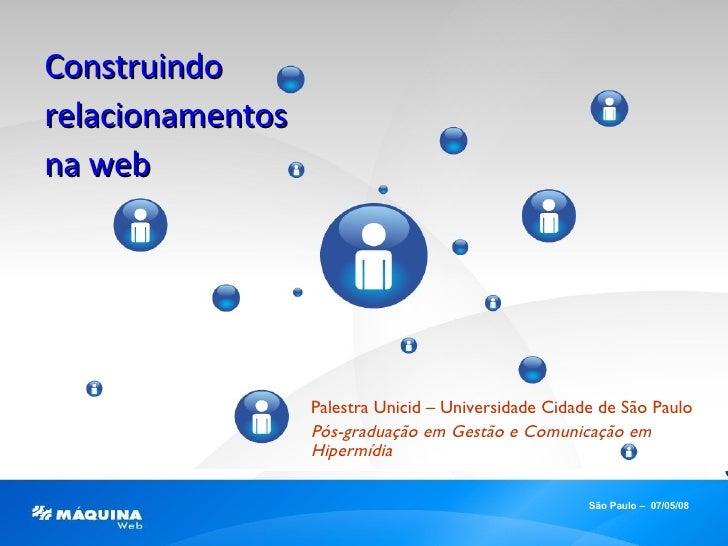 Palestra Unicid – Universidade Cidade de São Paulo Pós-graduação em Gestão e Comunicação em Hipermídia São Paulo –  07/05/...