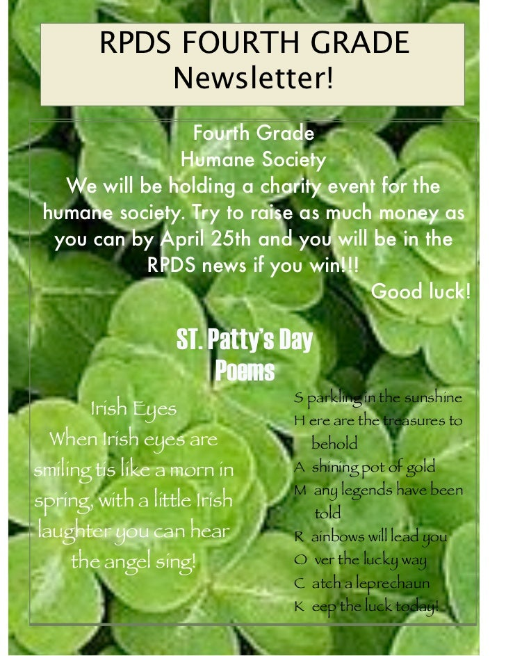 RPDS FOURTH GRADE            Newsletter!                 Fourth Grade               Humane Society   We will be holding a ...