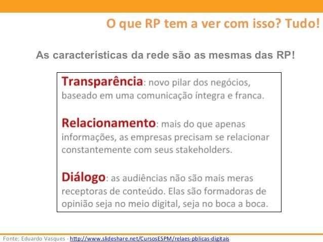 O  que  RP  tem  a  ver  com  isso?  Tudo!  As características da rede são as mesmas das RP!  Fonte:  Eduardo  Vasques  -...