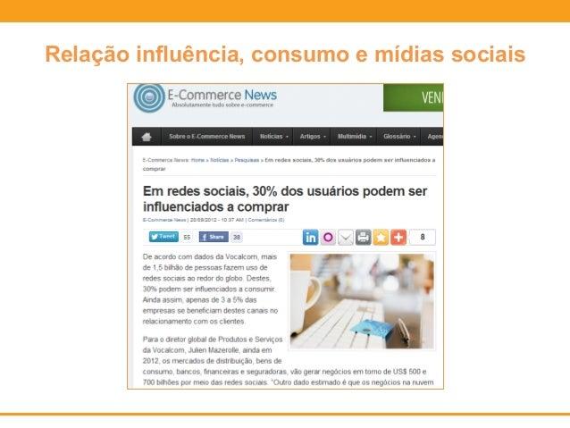 Relação influência, consumo e mídias sociais