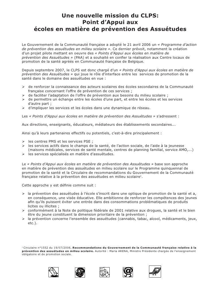 Une nouvelle mission du CLPS:                       Point d'Appui aux        écoles en matière de prévention des Assuétude...